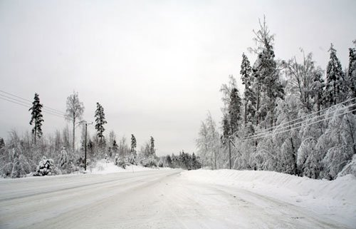 Дороги в Финляндии зимой