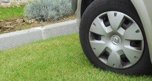 Машина на газоне