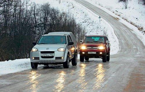 Торможение автомобиля на скользкой дороге