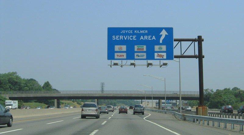 Указатель зоны отдыха, автострада США