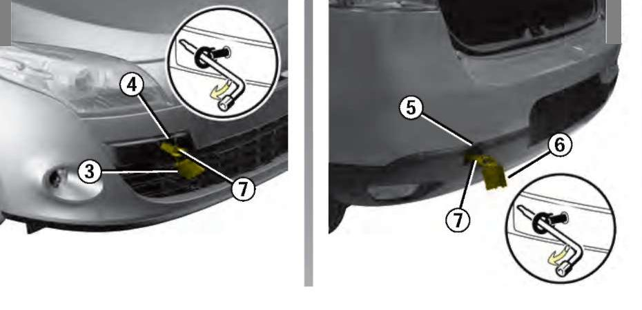 Схема, показывающая расположение буксировочных проушин