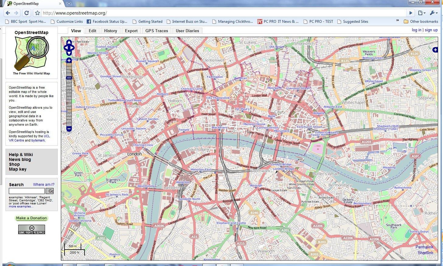 Топографические карты Open Street Map с английским вариантом интерфейса