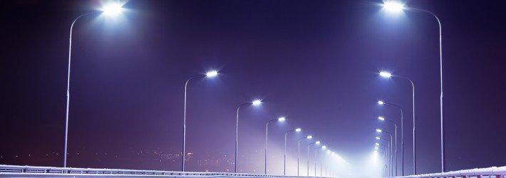 Дороги освещают светодиодными лампами