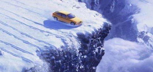Экстренное торможение на снегу