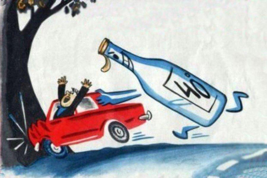 Карикатура, алкоголь и вождение авто