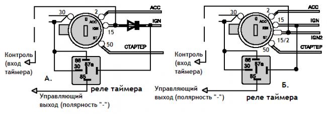 Турботаймер-автомат, 2 схемы подключения