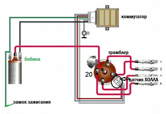 Схема соединения системы бесконтактного зажигания