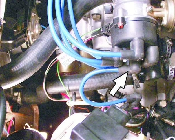 Трамблёр с проводами, указано место снятия