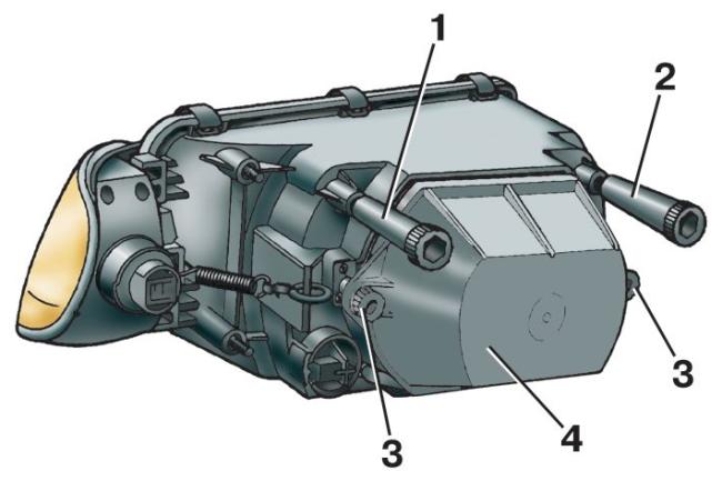 Регулировочные болты для настройки светового пучка фары на ВАЗ 2114