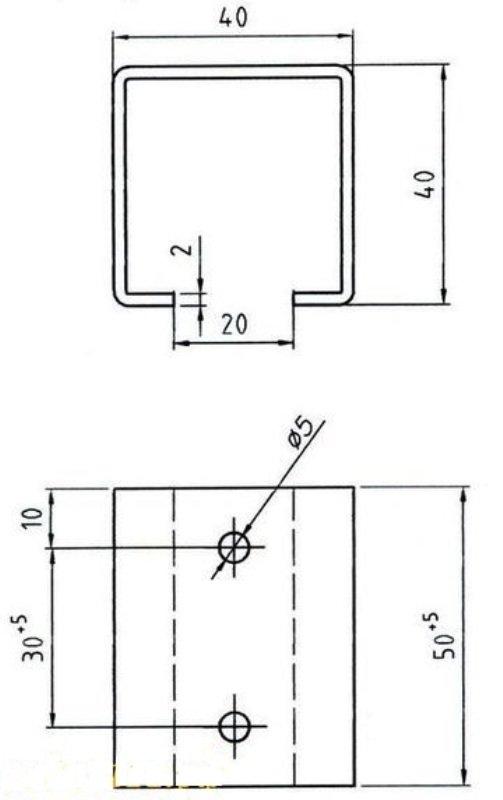 Схема-чертеж кронштейна для крепления раздвоенного глушителя
