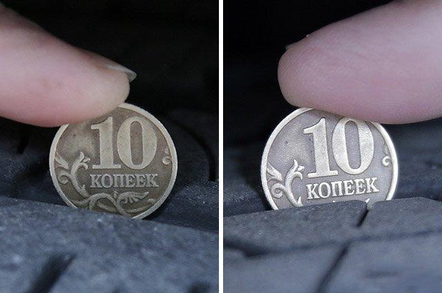 Измерение глубины профиля монетой