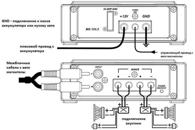 Схема подключения усилителя