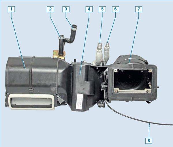 Схема отопителя автомобиля «Нива Шевроле» с кондиционером