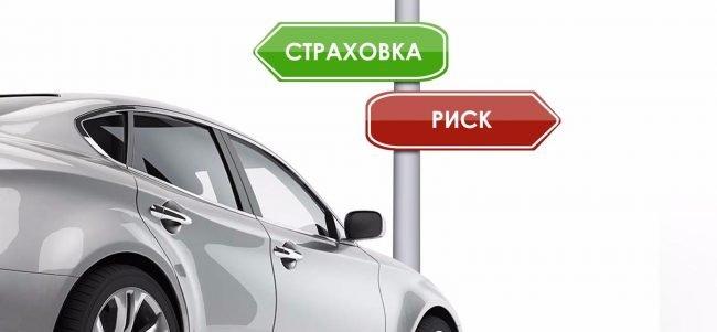 Автомобиль и таблички «страховка» и «риск»