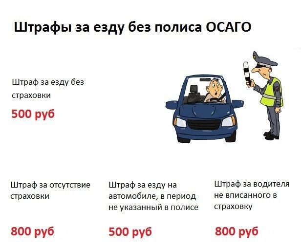Размеры штрафов за езду без полиса ОСАГО