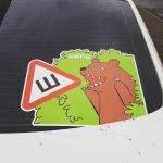 Знак «Шипы» с медведем