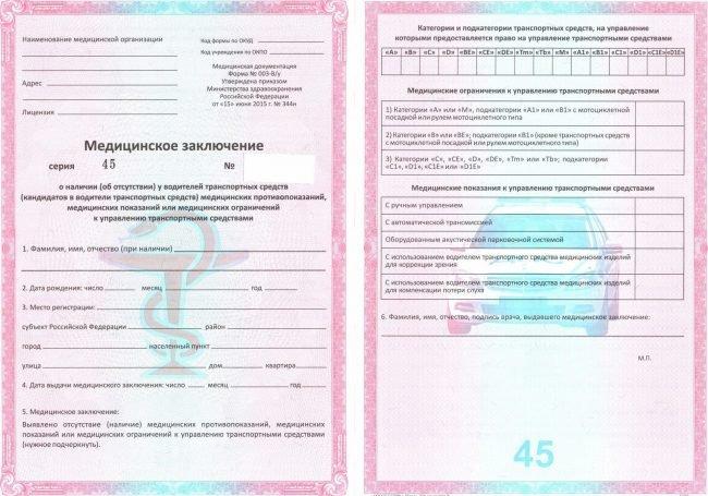 Медицинская справка формы № 003-В/у