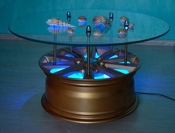 Столик-светильник из колёсного диска