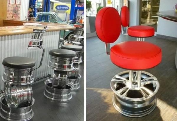 Барные стулья с основанием из дисков