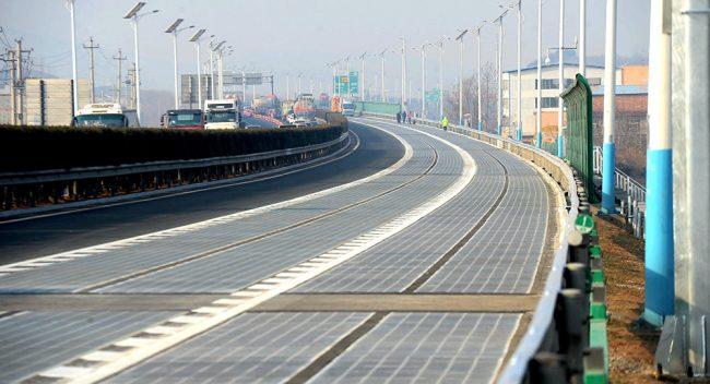 Дорога из солнечных панелей в Китае