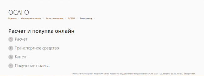 Первая страница оформления е-полиса